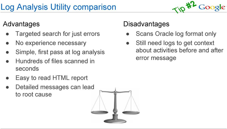 seconds Easy to read HTML report Detailed messages can lead to root cause Disadvantages