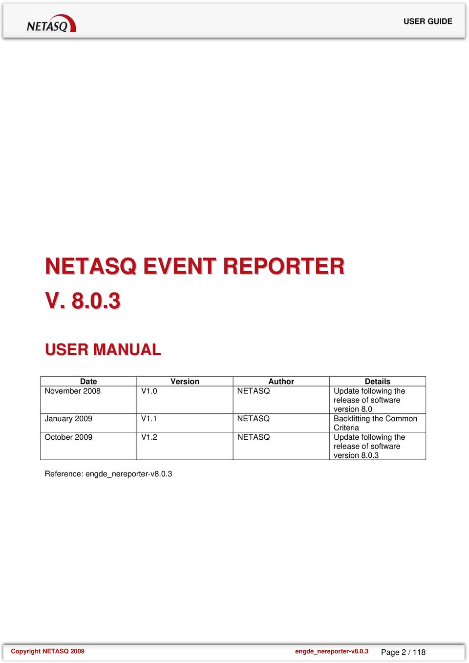 0 NETASQ Update following the release of software version 8.0 January 2009 V1.