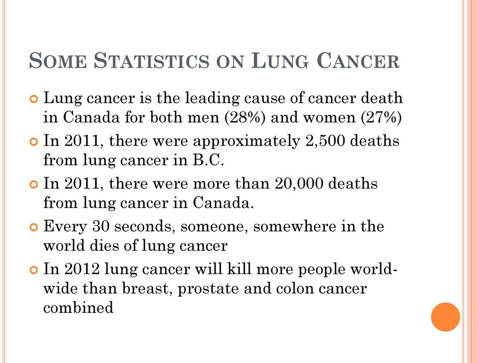 In 2011, there were more than 20,000 deaths from lung cancer in Canada.