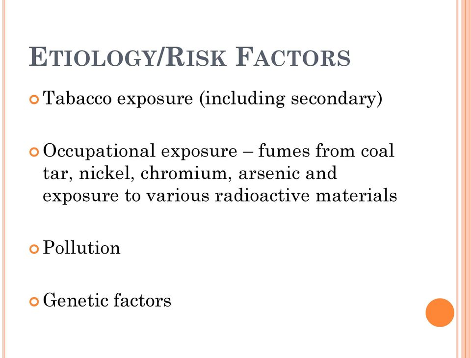 tar, nickel, chromium, arsenic and exposure to