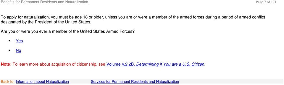 of the United States, Are you or were you ever a member of the United States Armed Forces?
