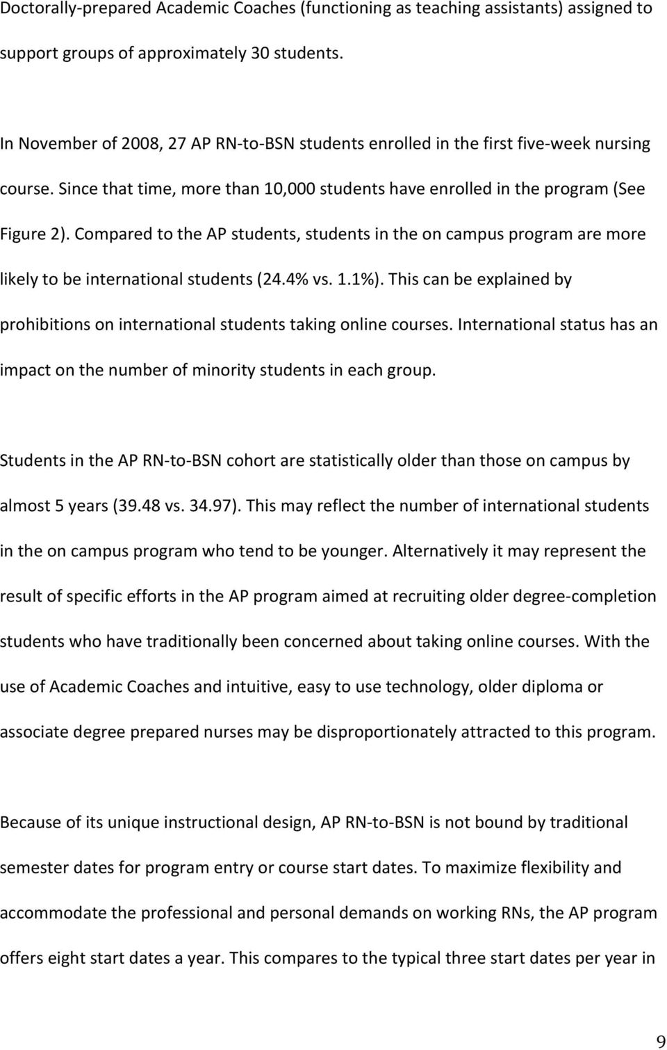 Compared to the AP students, students in the on campus program are more likely to be international students (24.4% vs. 1.1%).