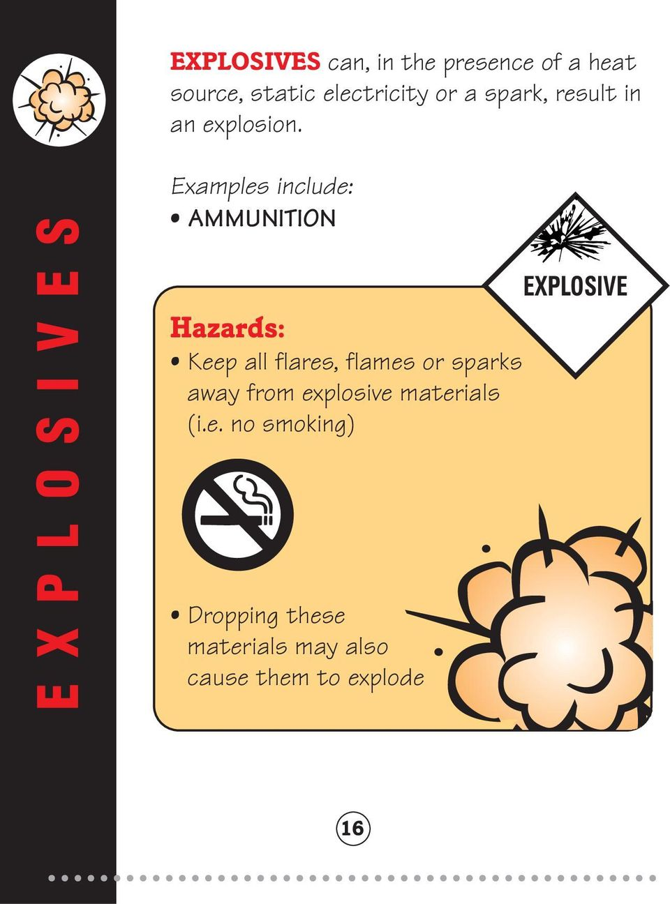 EXPLOSIVES Examples include: AMMUNITION EXPLOSIVE Hazards: Keep all flares,