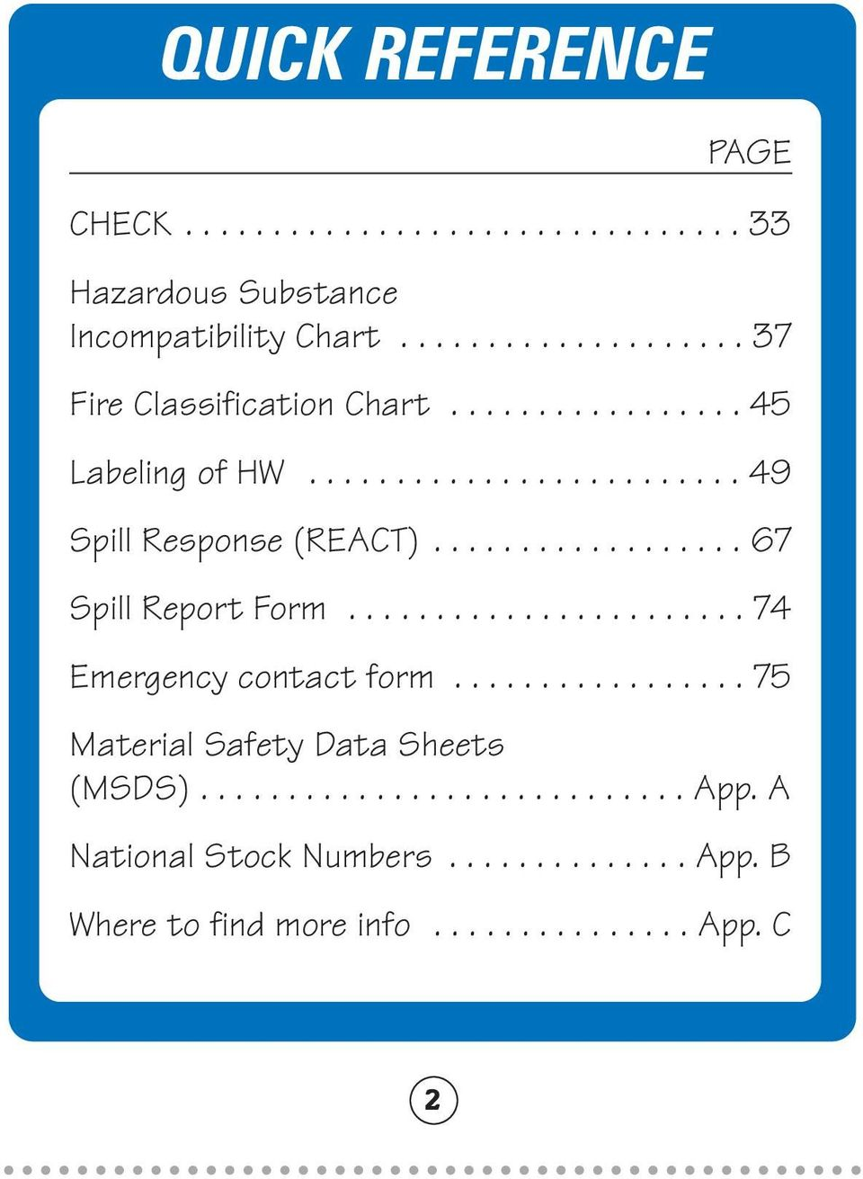 ................. 67 Spill Report Form....................... 74 Emergency contact form................. 75 Material Safety Data Sheets (MSDS).