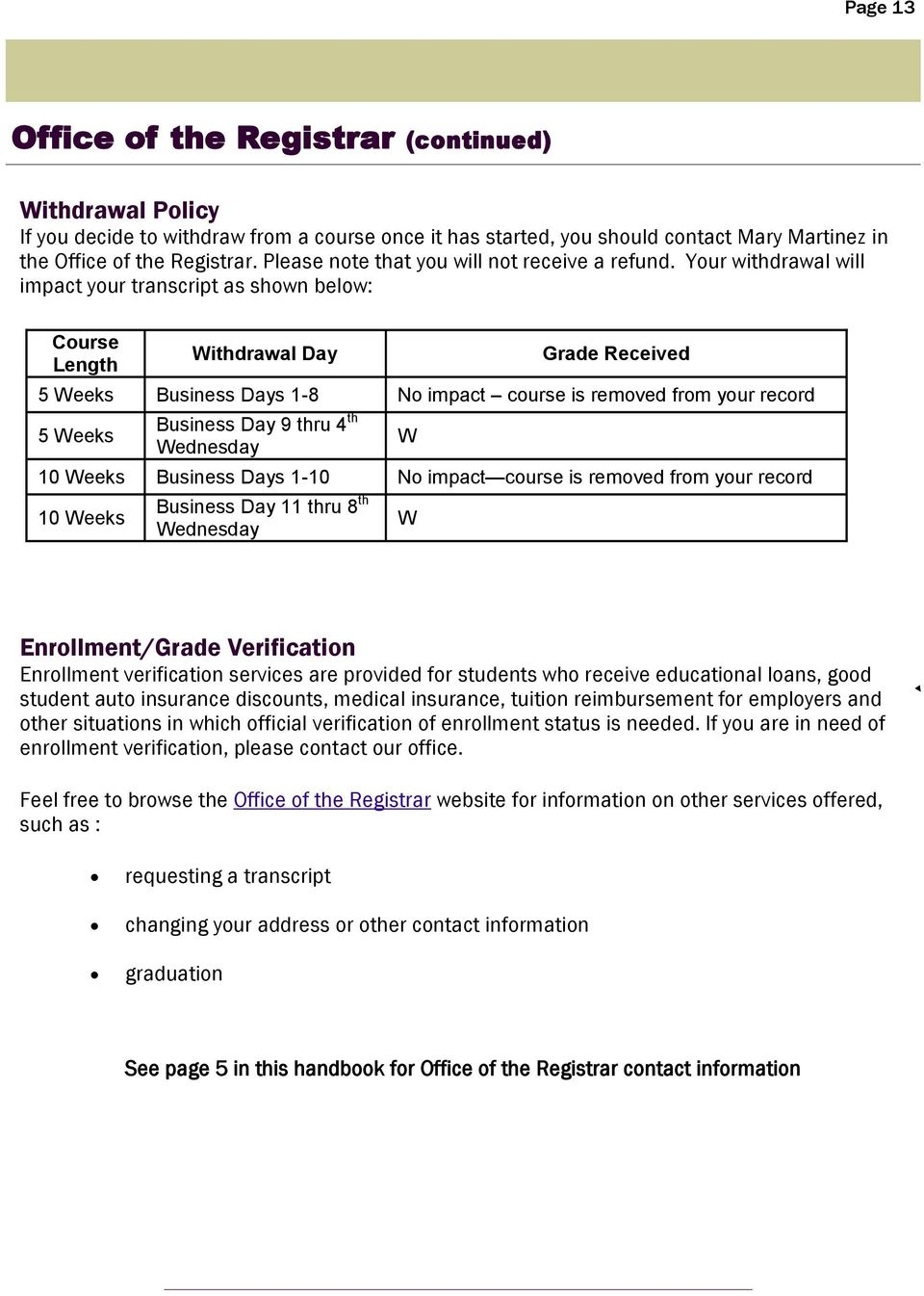 Your withdrawal will impact your transcript as shown below: Course Length Withdrawal Day Grade Received 5 Weeks Business Days 1-8 No impact course is removed from your record 5 Weeks Business Day 9