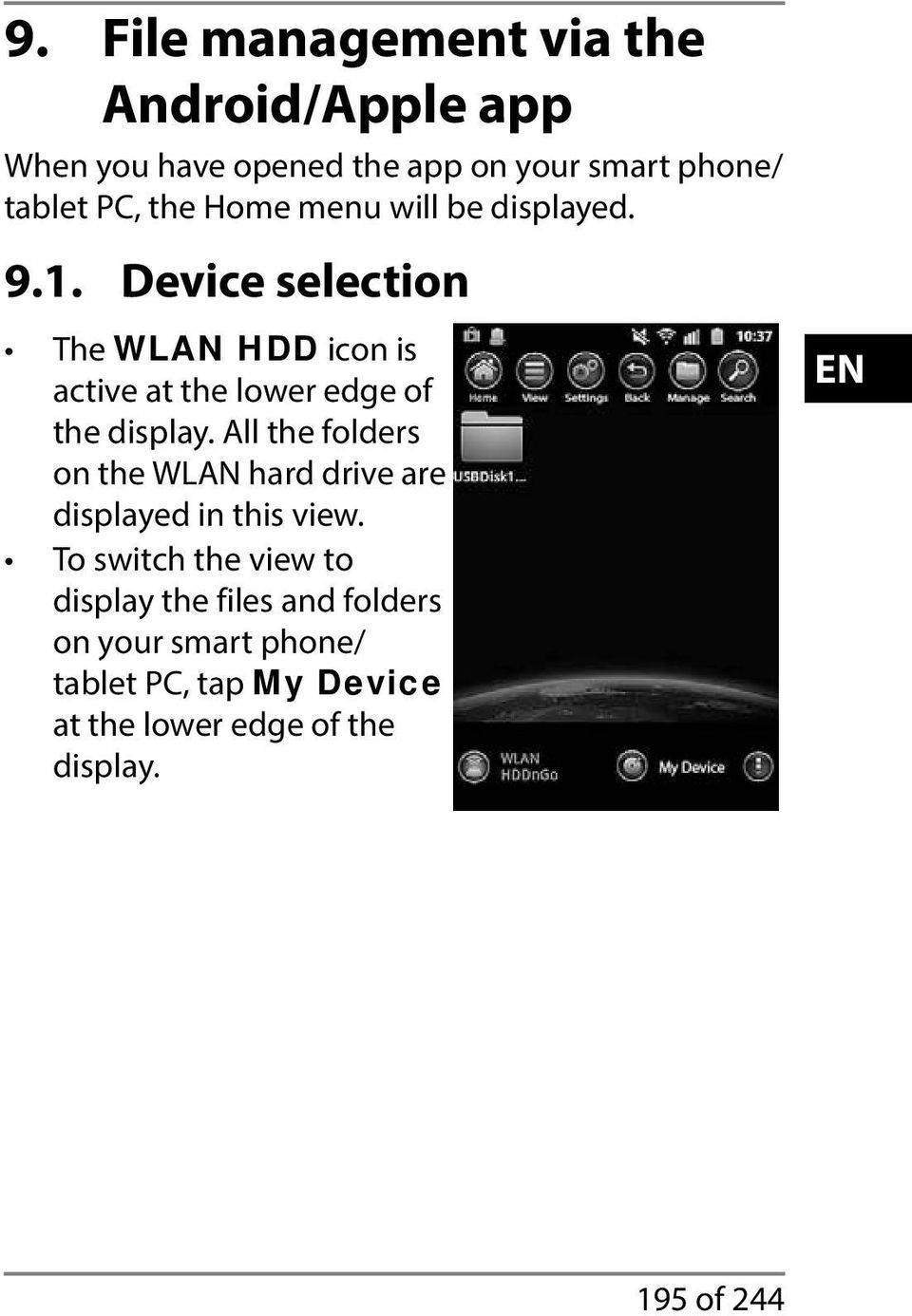 Device selection The WLAN HDD icon is active at the lower edge of the display.