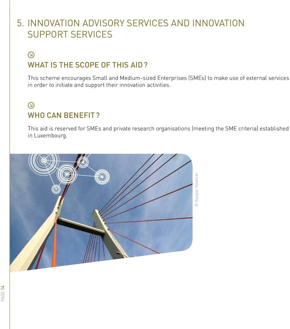 order to initiate and support their innovation activities. WHO CAN BENEFIT?