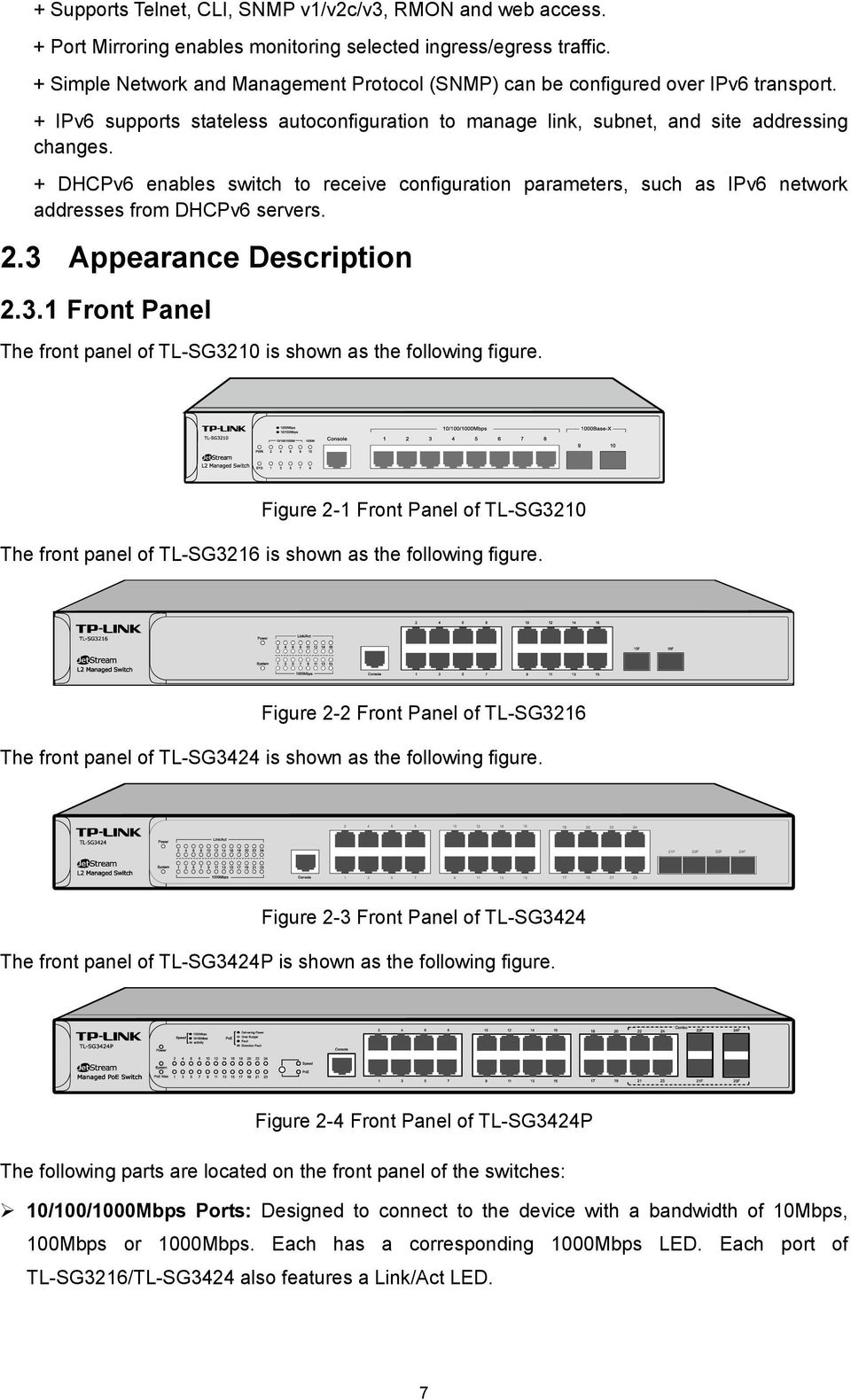 + DHCPv6 enables switch to receive configuration parameters, such as IPv6 network addresses from DHCPv6 servers. 2.3 Appearance Description 2.3.1 Front Panel The front panel of TL-SG3210 is shown as the following figure.