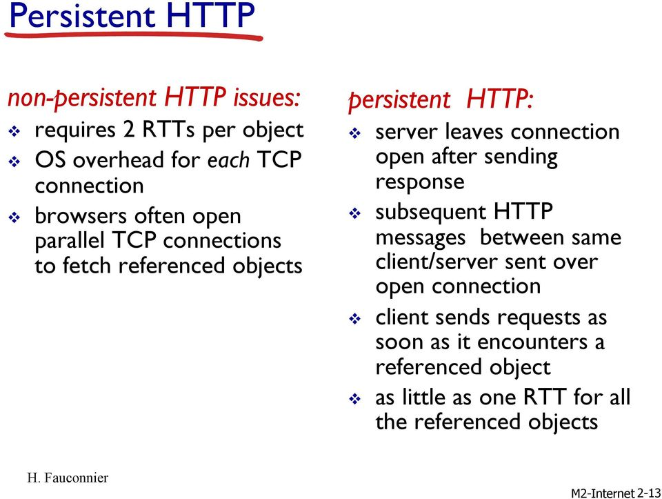 open after sending response v subsequent HTTP messages between same client/server sent over open connection v client