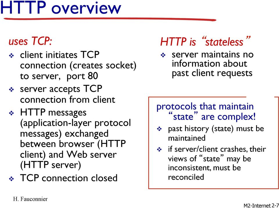 connection closed HTTP is stateless v server maintains no information about past client requests protocols that maintain state are complex!