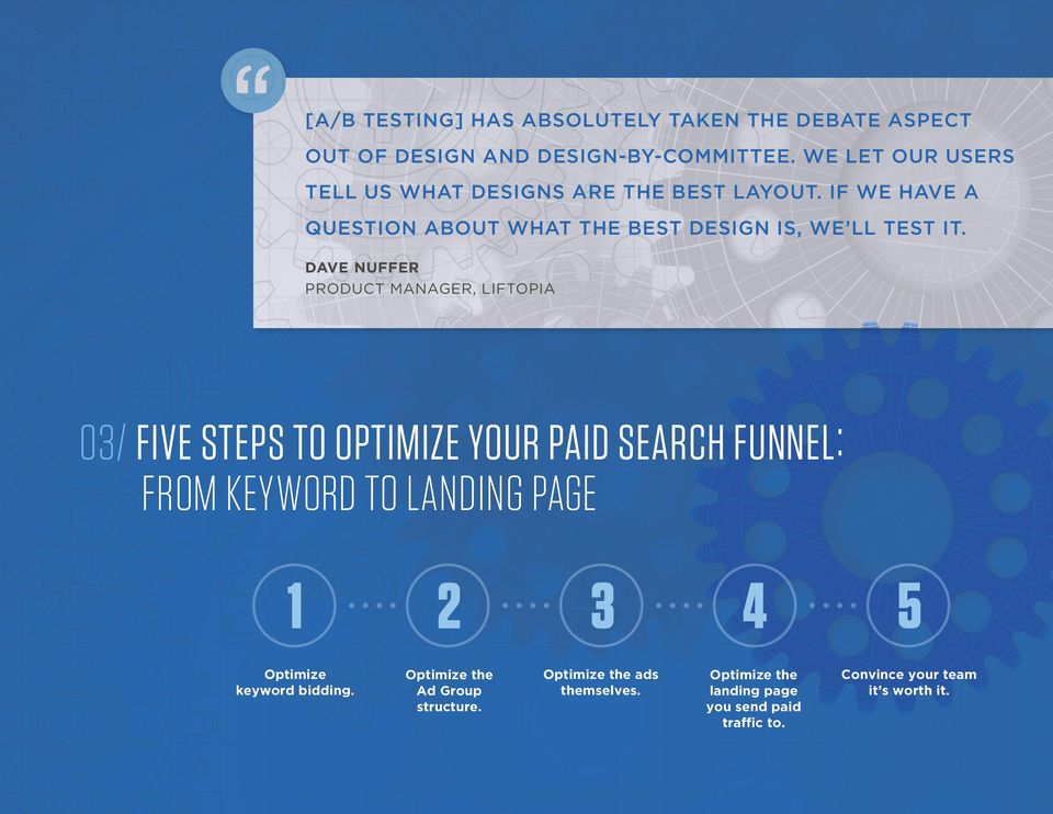 DAVE NUFFER PRODUCT MANAGER, LIFTOPIA 03/ FIVE STEPS TO OPTIMIZE YOUR PAID SEARCH FUNNEL: FROM KEYWORD TO LANDING PAGE Optimize keyword