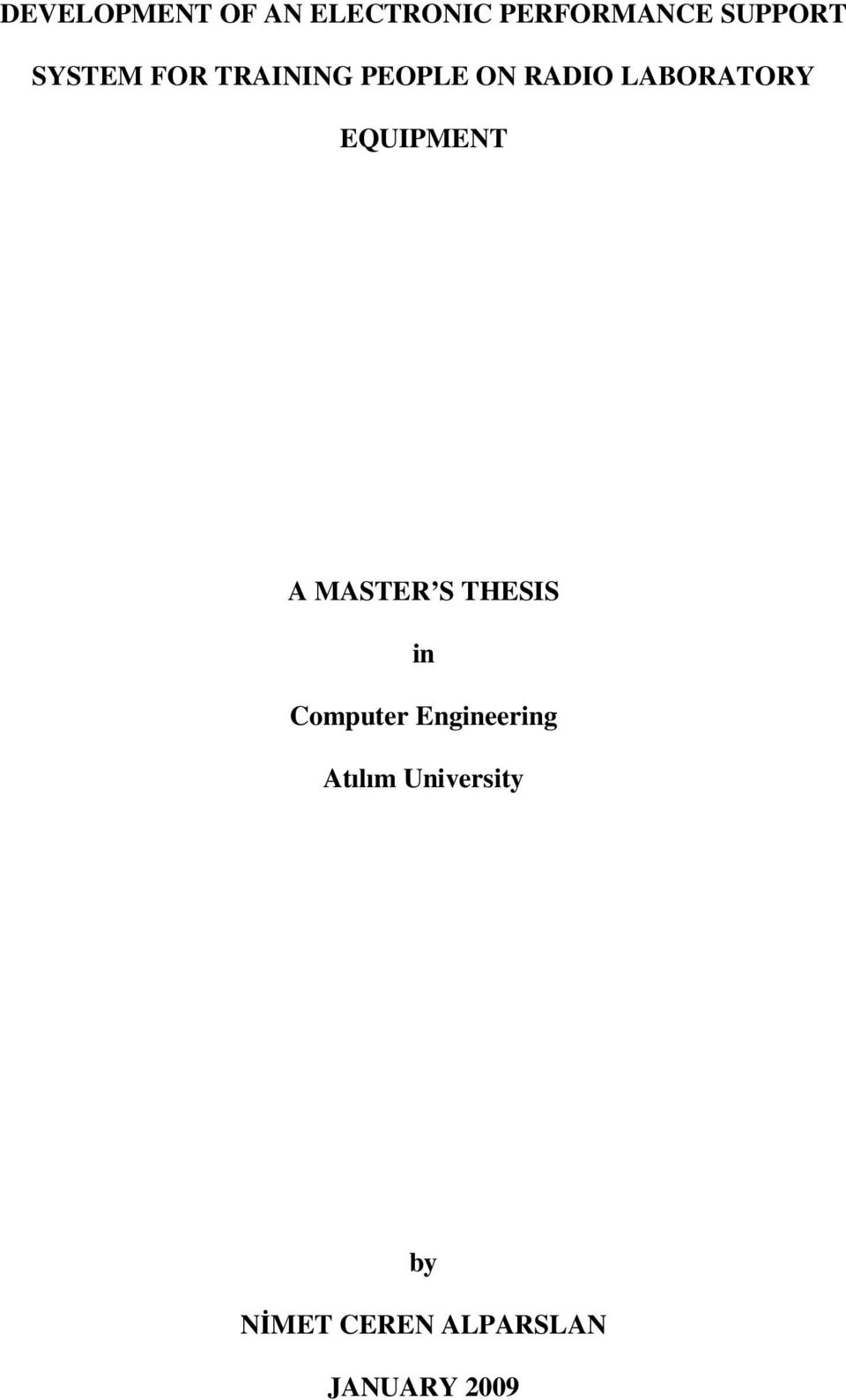 EQUIPMENT A MASTER S THESIS in Computer