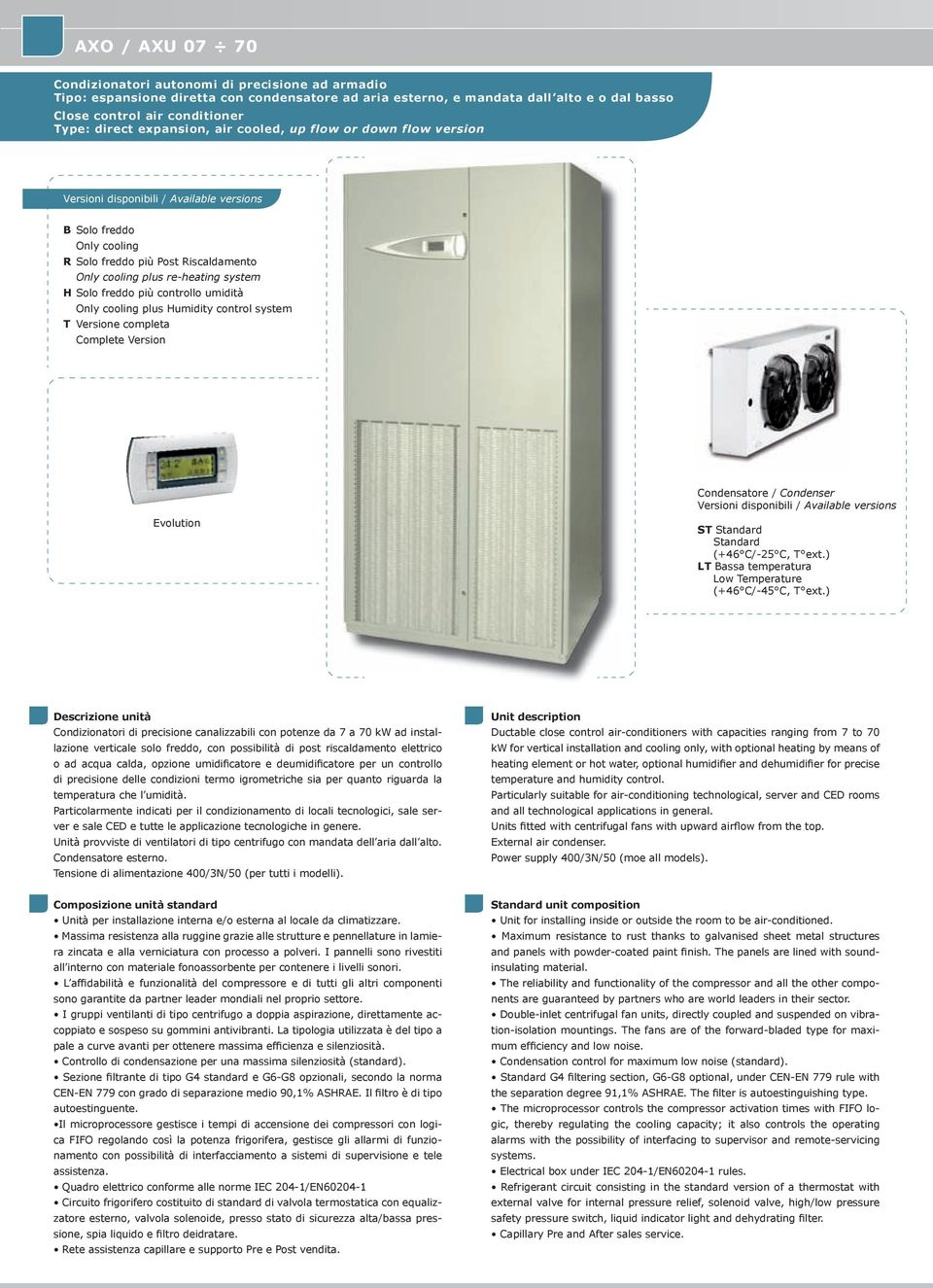 system H Solo freddo più controllo umidità Only cooling plus Humidity control system T Versione completa Complete Version Evolution Condensatore / Condenser Versioni disponibili / Available versions