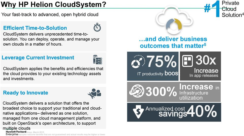 CloudSystem delivers a solution that offers the broadest choice to support your traditional and cloudnative applications delivered as one solution, managed from one cloud management platform, and