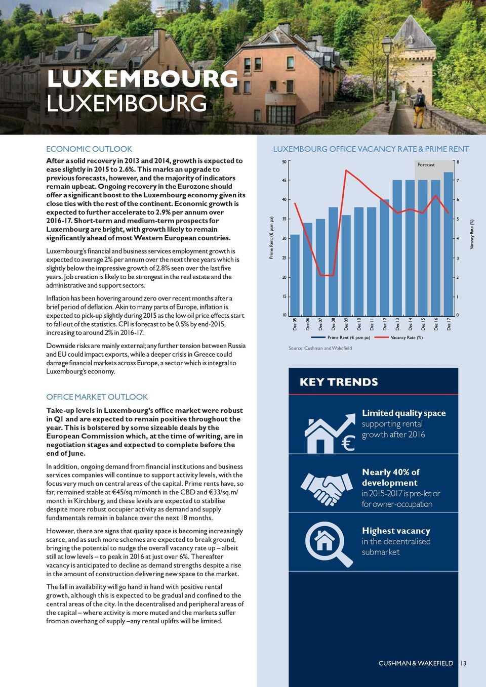 Ongoing recovery in the Eurozone should offer a significant boost to the Luxembourg economy given its close ties with the rest of the continent. Economic growth is expected to further accelerate to 2.