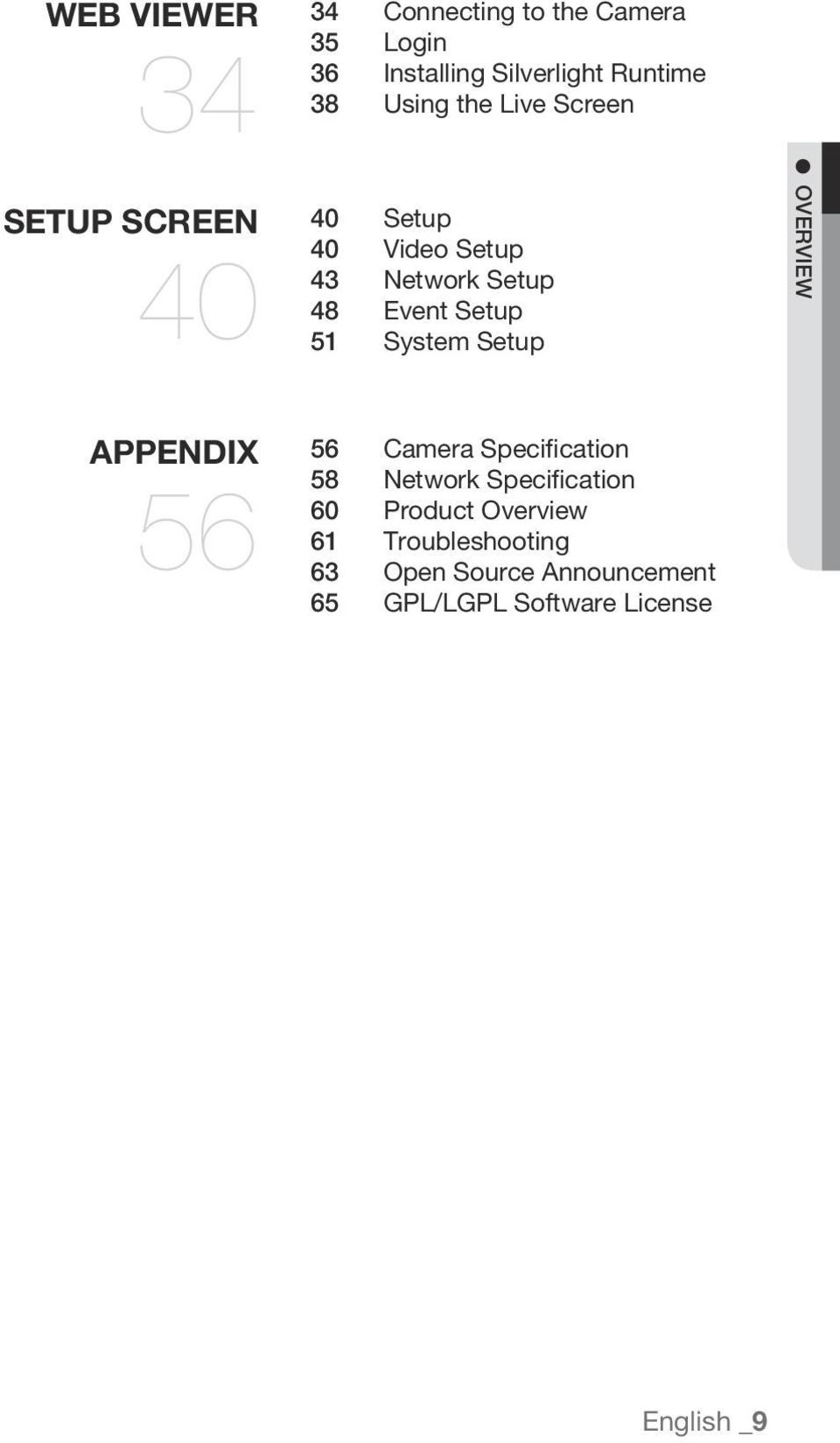 System Setup OVERVIEW APPENDIX 56 56 Camera Specification 58 Network Specification 60 Product