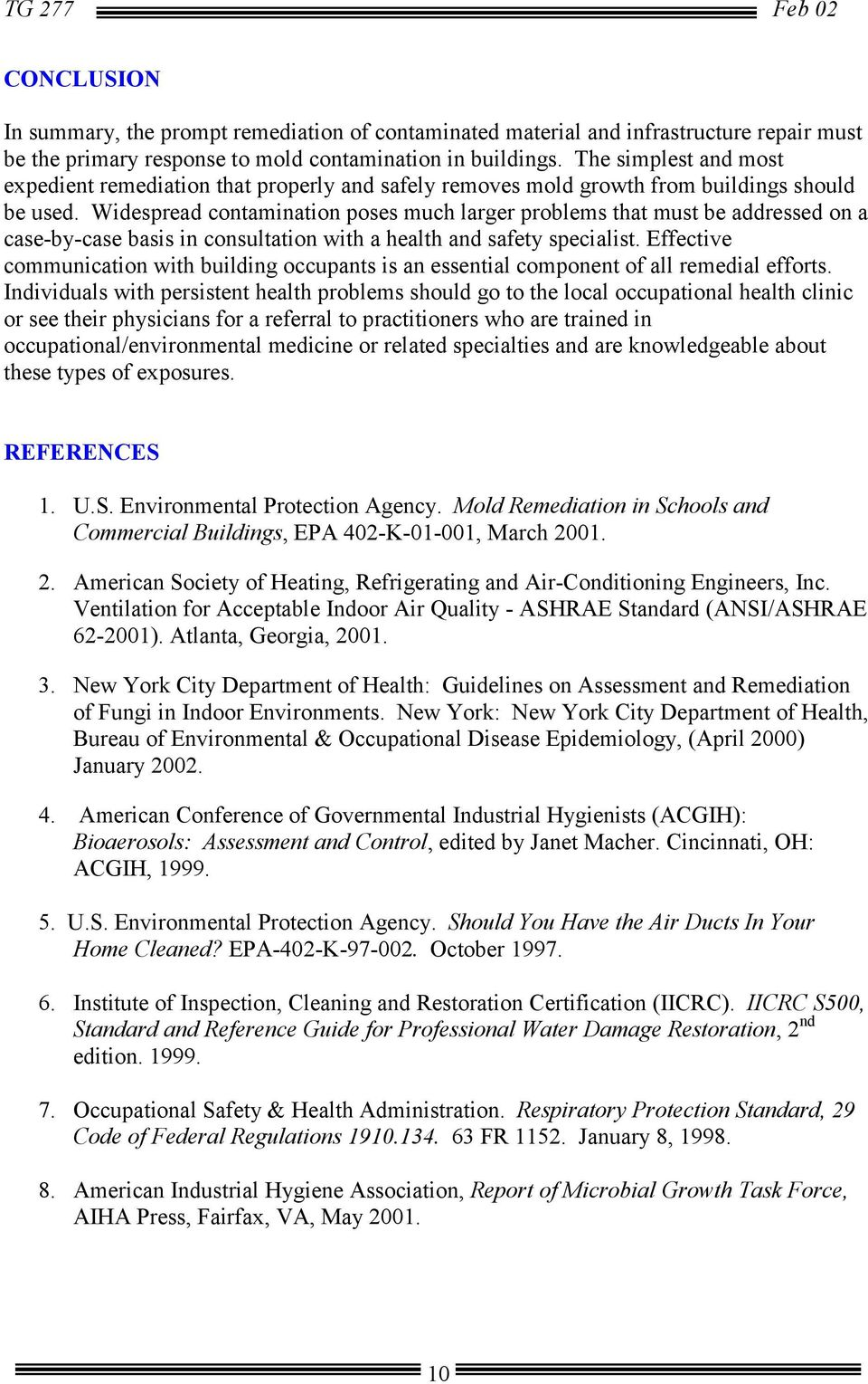 Army Facilities Management Information Document on Mold