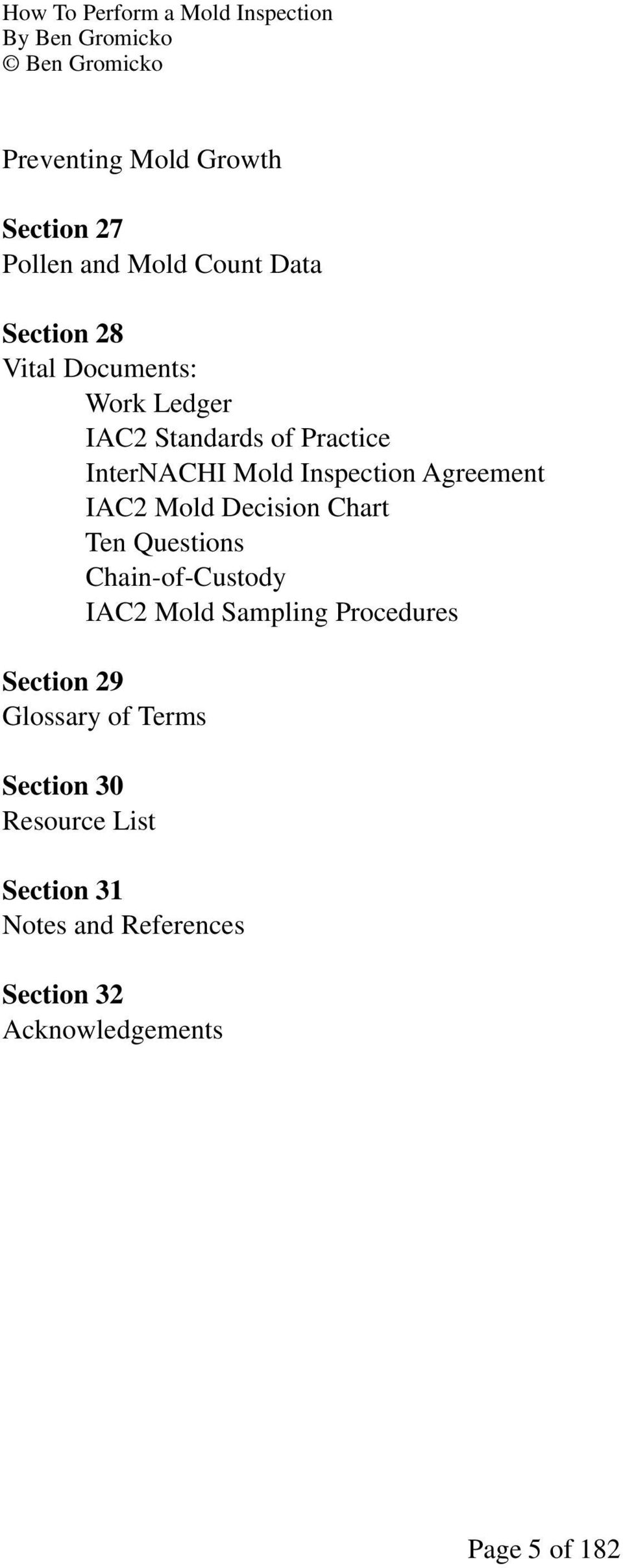 Chart Ten Questions Chain-of-Custody IAC2 Mold Sampling Procedures Section 29 Glossary of