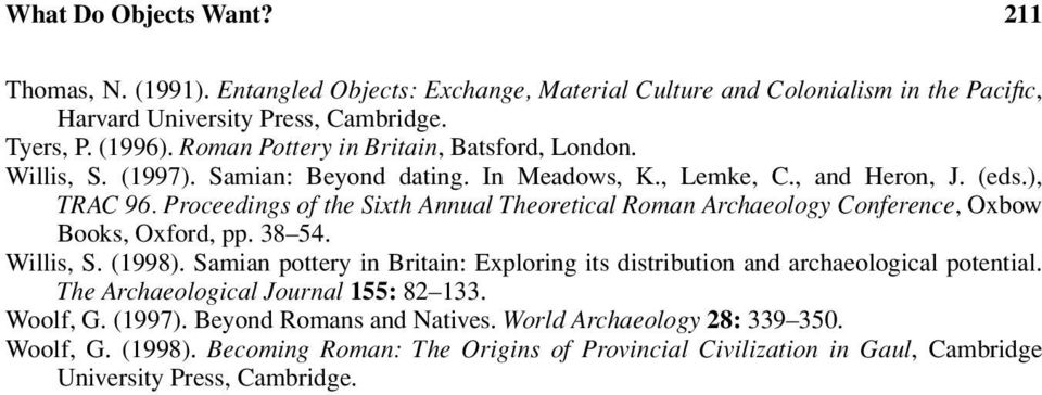 Proceedings of the Sixth Annual Theoretical Roman Archaeology Conference, Oxbow Books, Oxford, pp. 38 54. Willis, S. (1998).