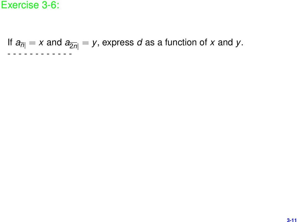 d as a function of x and