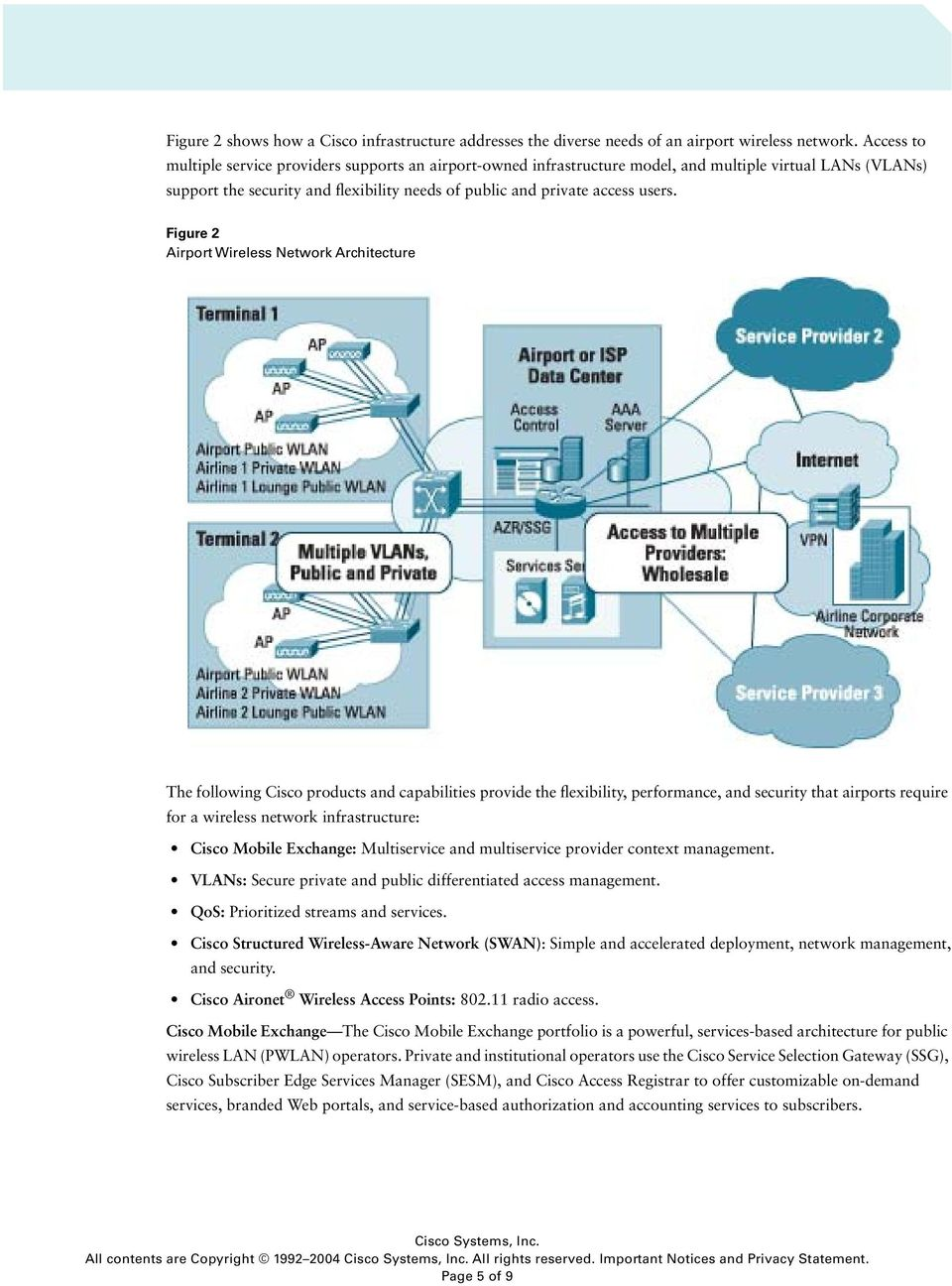 Figure 2 Airport Wireless Network Architecture The following Cisco products and capabilities provide the flexibility, performance, and security that airports require for a wireless network
