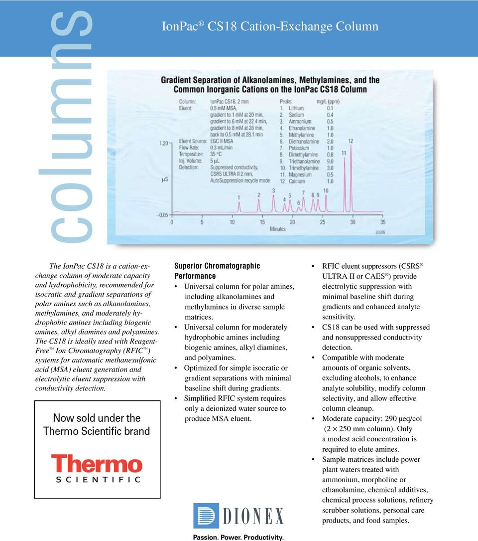 The CS is ideally used with Reagent- Free Ion Chromatography (RFIC ) systems for automatic methanesulfonic acid (MSA) eluent generation and electrolytic eluent suppression with conductivity detection.