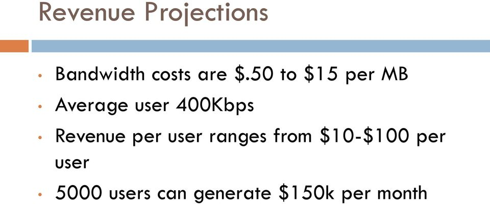 Revenue per user ranges from $10-$100 per