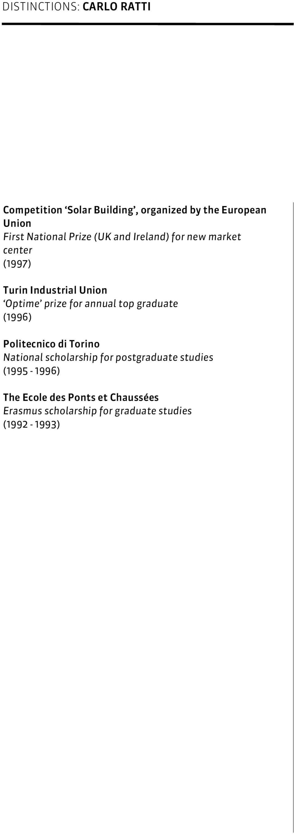 for annual top graduate (1996) Politecnico di Torino National scholarship for postgraduate