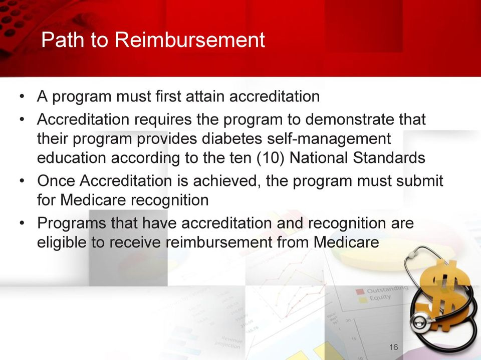 National Standards Once Accreditation is achieved, the program must submit for Medicare recognition