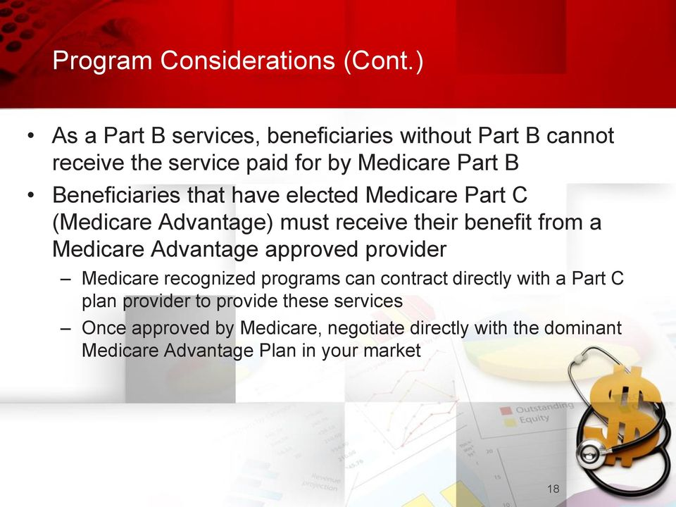 that have elected Medicare Part C (Medicare Advantage) must receive their benefit from a Medicare Advantage approved