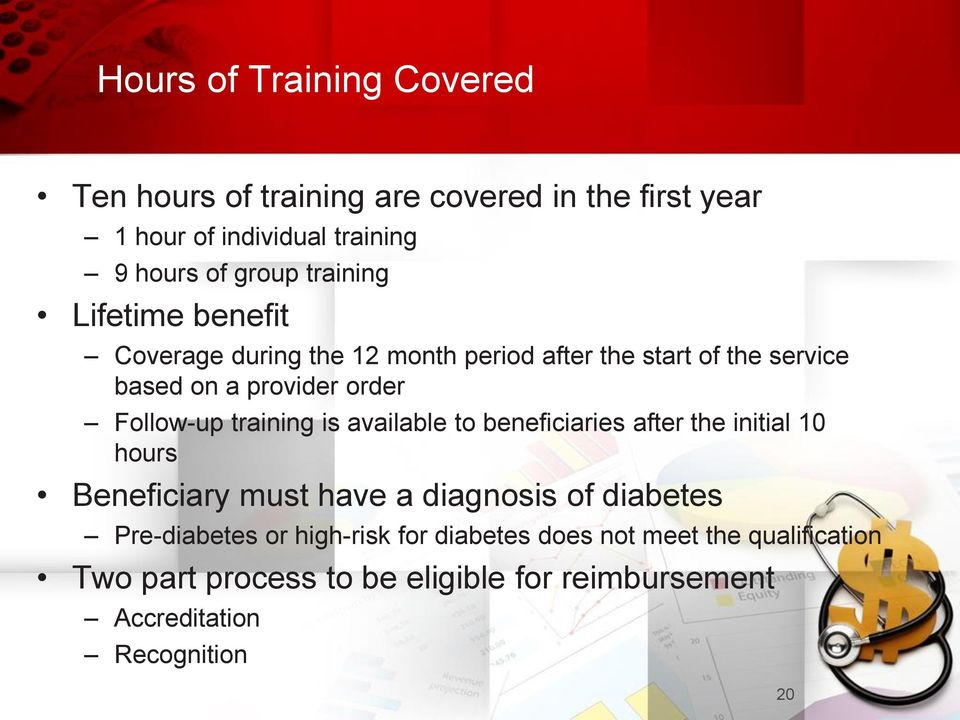 training is available to beneficiaries after the initial 10 hours Beneficiary must have a diagnosis of diabetes Pre-diabetes or