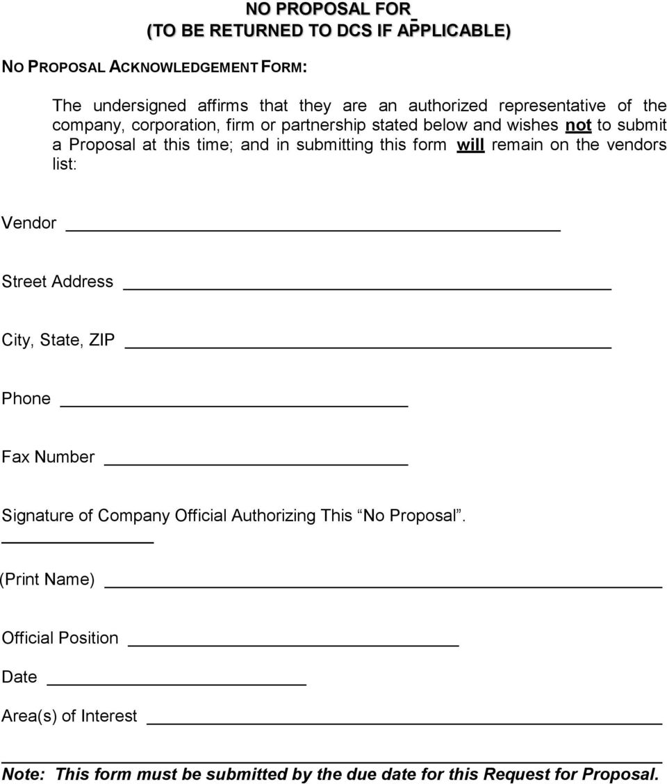 this form will remain on the vendors list: Vendor Street Address City, State, ZIP Phone Fax Number Signature of Company Official Authorizing
