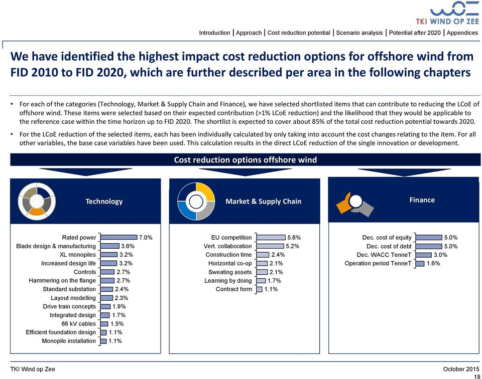 These items were selected based on their expected contribution (>1% LCoE reduction) and the likelihood that they would be applicable to the reference case within the time horizon up to FID 2020.