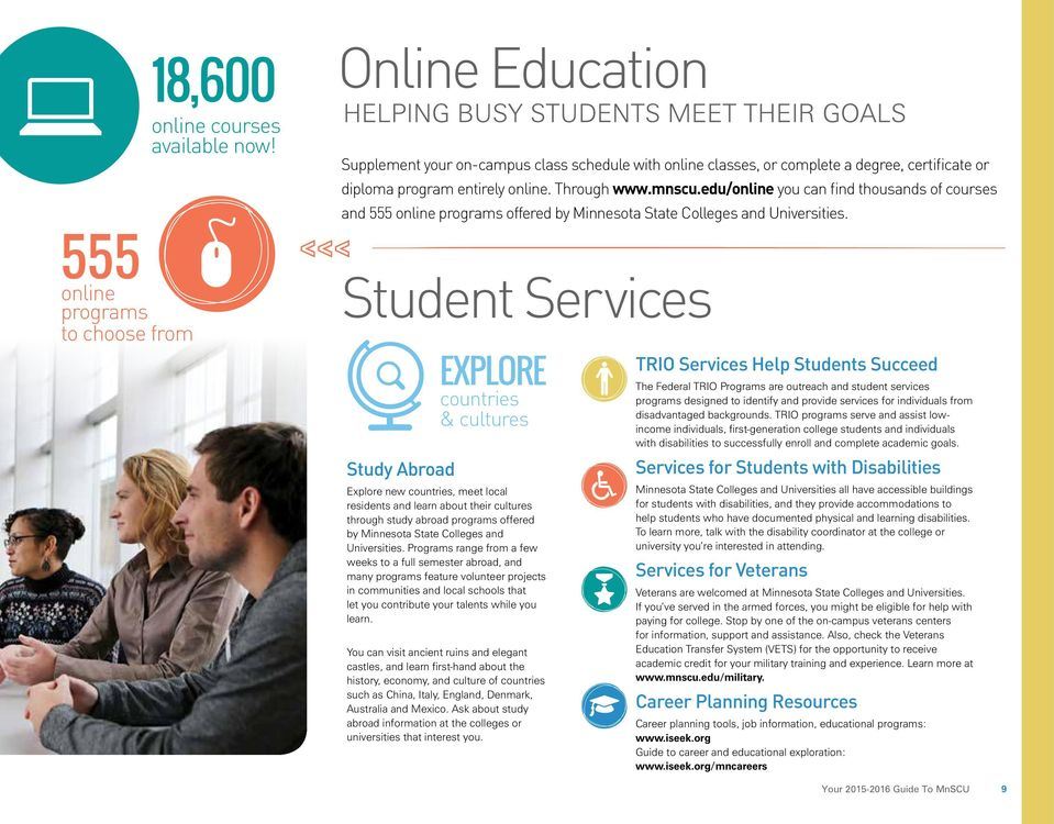 mnscu.edu/online you can find thousands of courses and 555 online programs offered by Minnesota State Colleges and Universities.