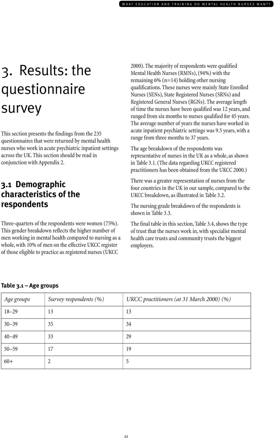 UK. This section should be read in conjunction with Appendix 2. 3.1 Demographic characteristics of the respondents Three-quarters of the respondents were women (75%).
