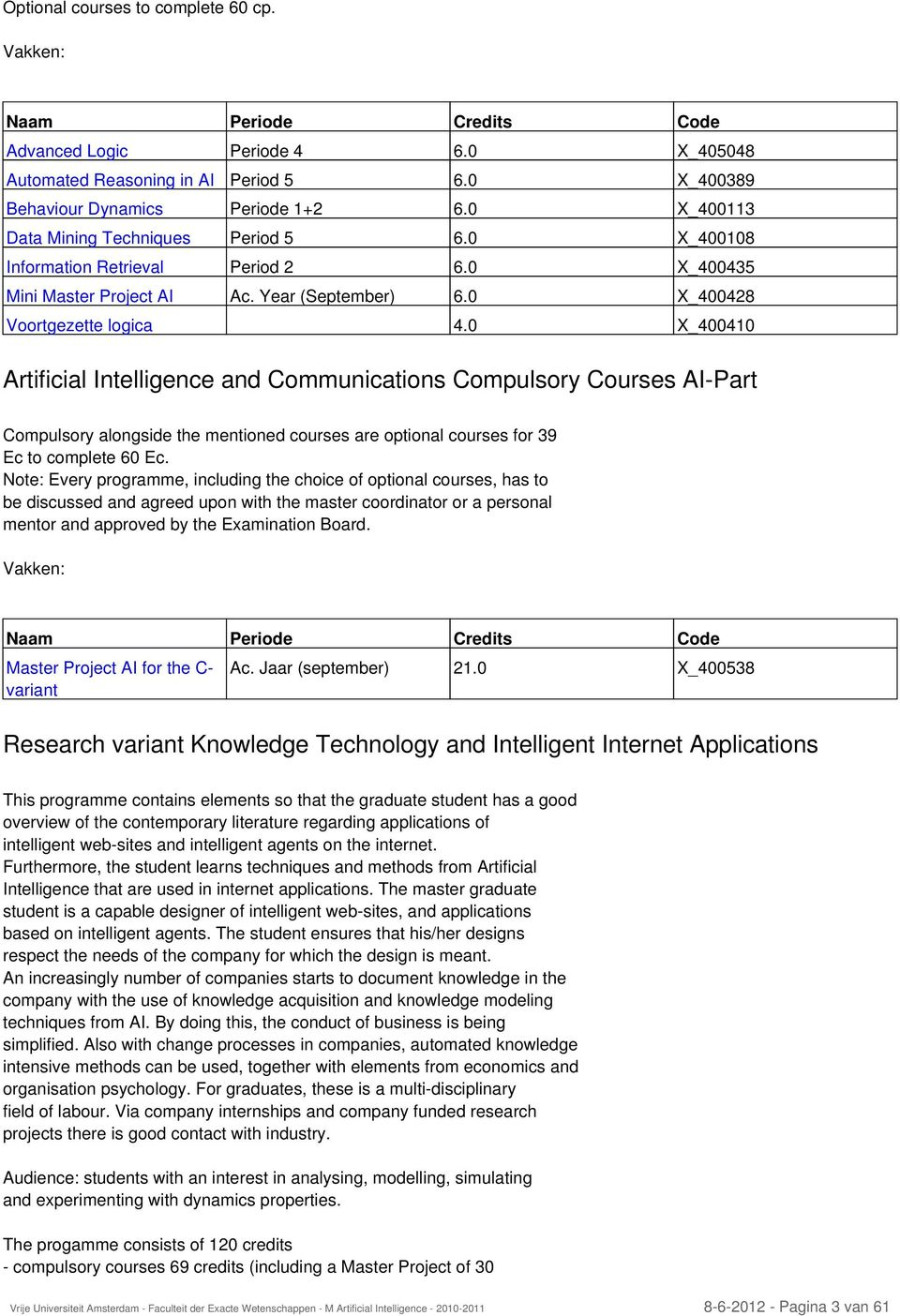 0 X_400410 Artificial Intelligence and Communications Compulsory Courses AI-Part Compulsory alongside the mentioned courses are optional courses for 39 Ec to complete 60 Ec.