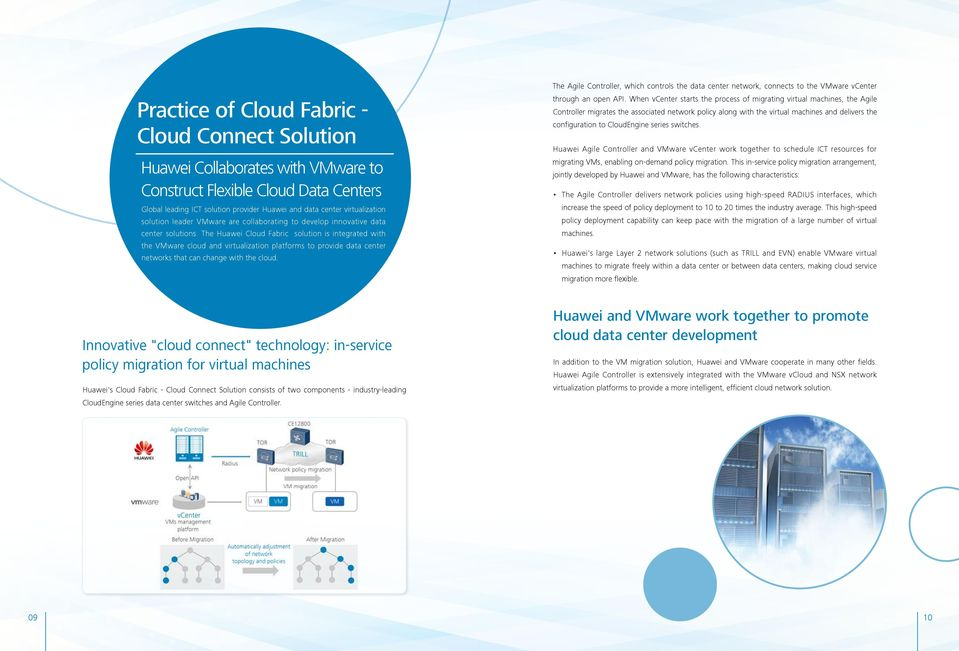 The Huawei Cloud Fabric solution is integrated with the VMware cloud and virtualization platforms to provide data center networks that can change with the cloud.