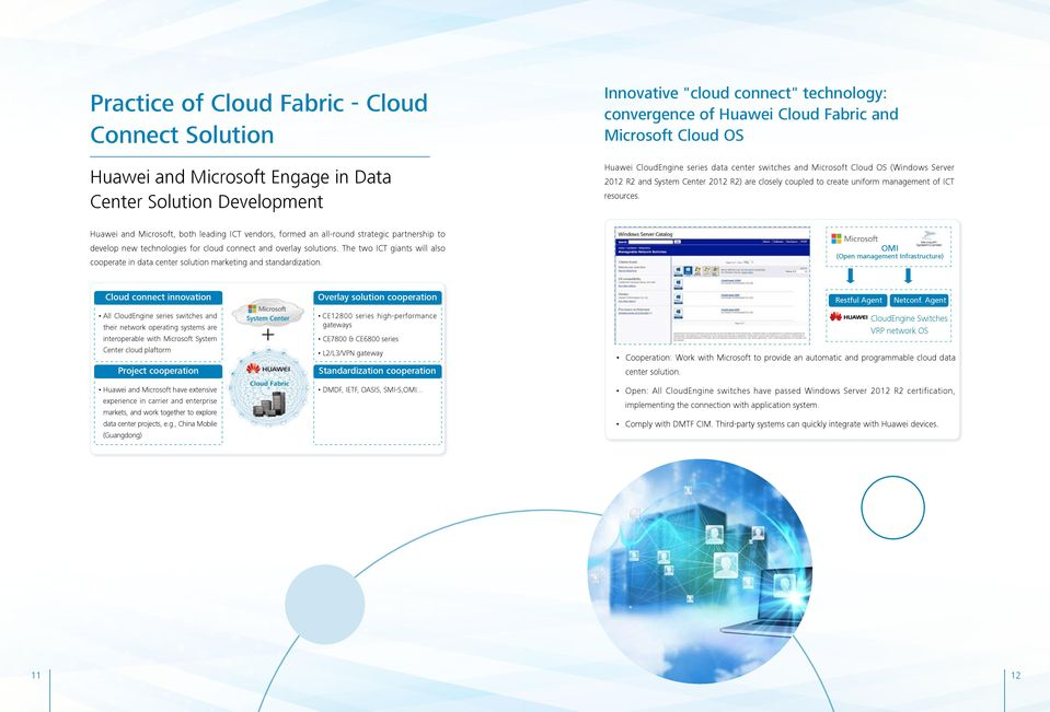 resources. Huawei and Microsoft, both leading ICT vendors, formed an all-round strategic partnership to develop new technologies for cloud connect and overlay solutions.