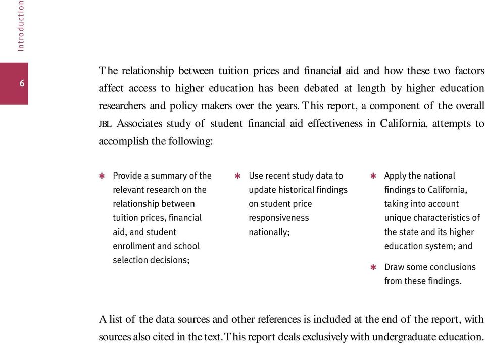 This report, a component of the overall jbl Associates study of student financial aid effectiveness in California, attempts to accomplish the following: Provide a summary of the relevant research on