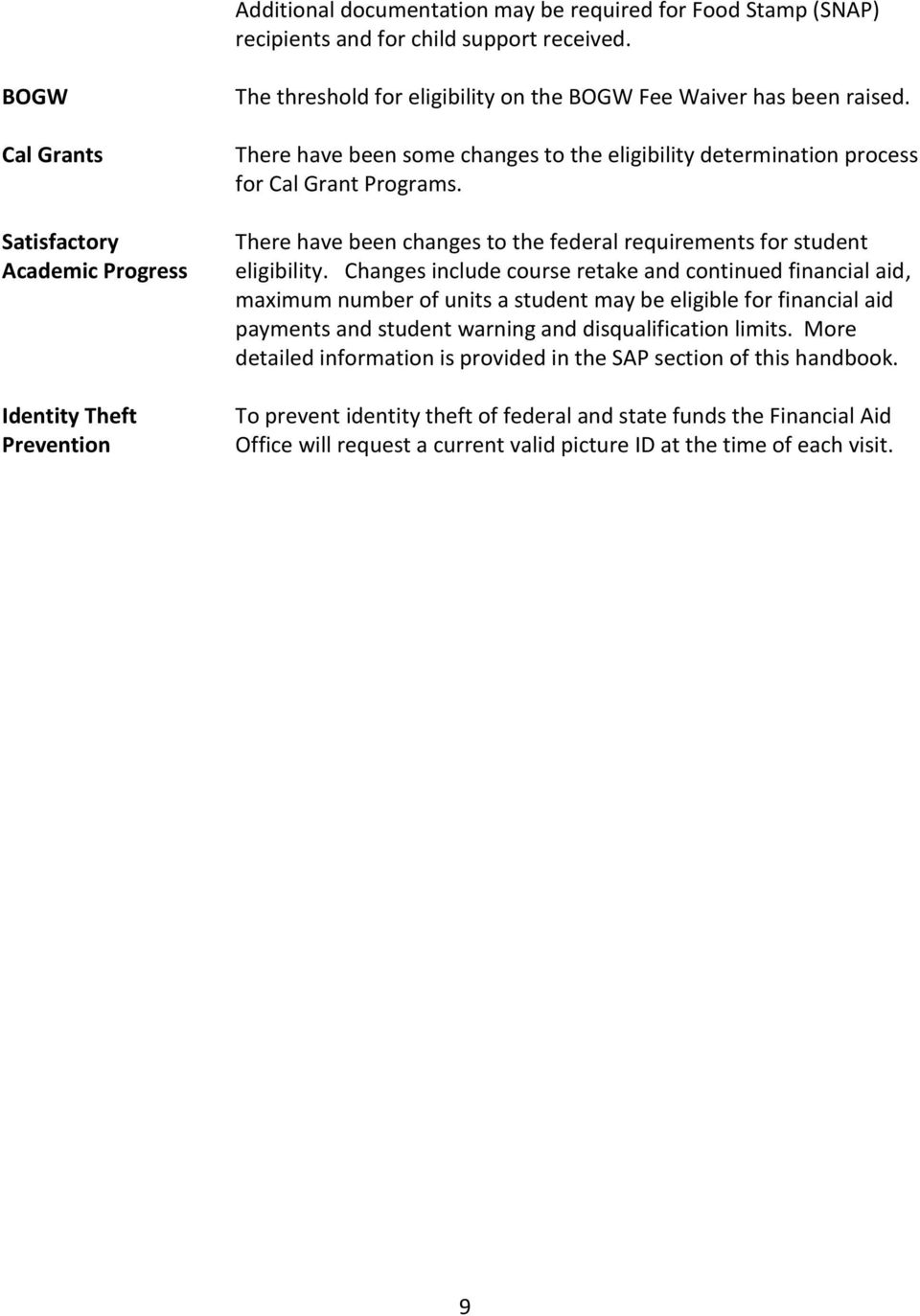 There have been some changes to the eligibility determination process for Cal Grant Programs. There have been changes to the federal requirements for student eligibility.