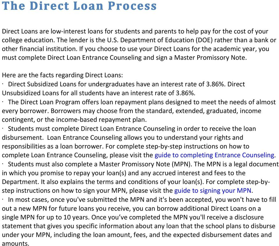If you choose to use your Direct Loans for the academic year, you must complete Direct Loan Entrance Counseling and sign a Master Promissory Note.