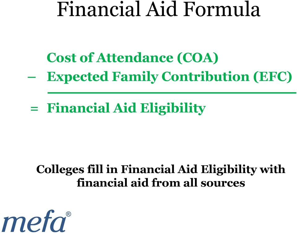 Aid Eligibility Colleges fill in Financial Aid