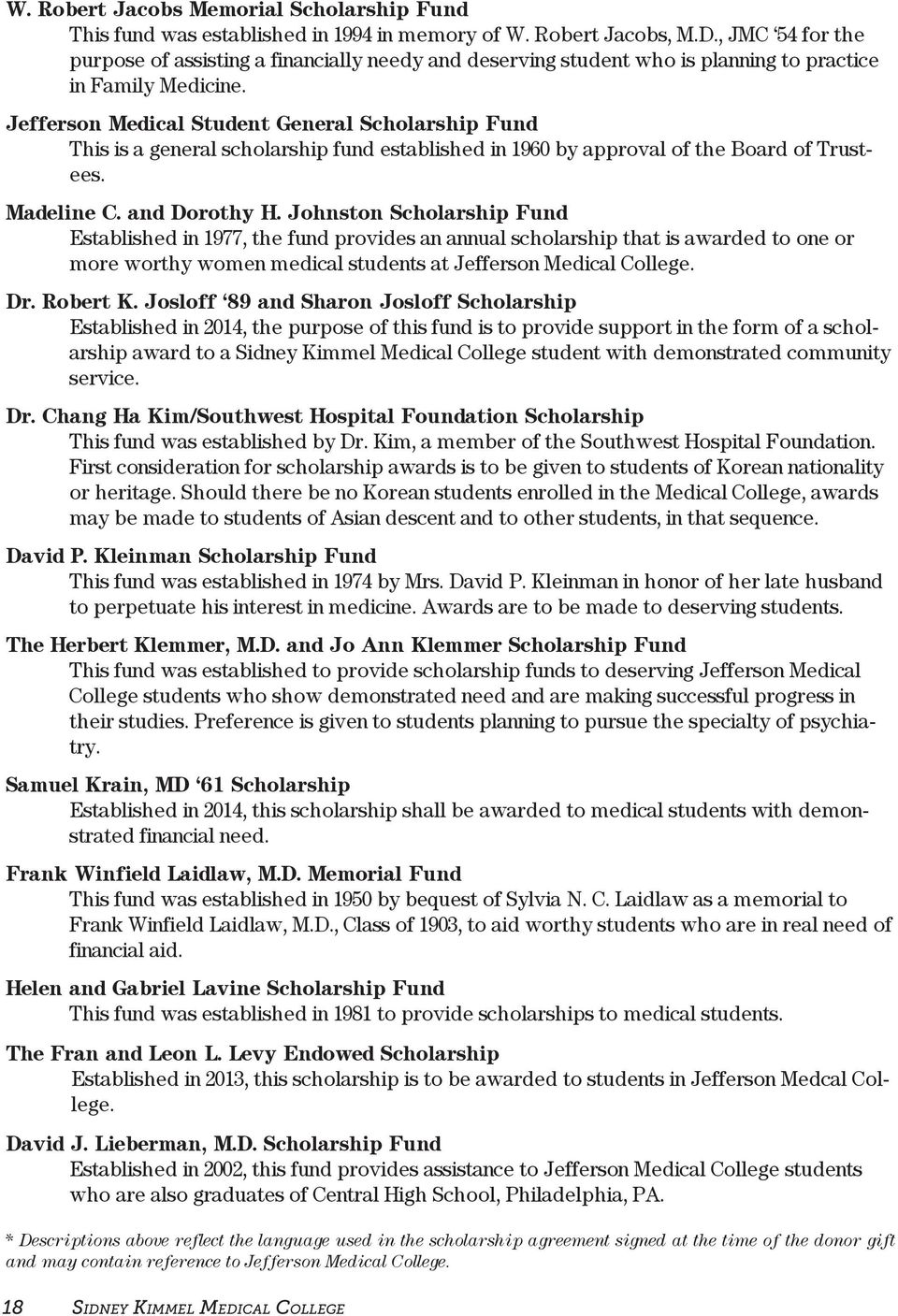 Jefferson Medical Student General Scholarship Fund This is a general scholarship fund established in 1960 by approval of the Board of Trustees. Madeline C. and Dorothy H.
