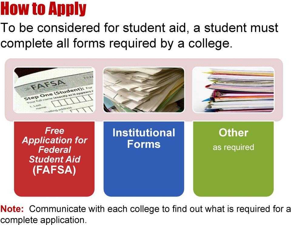 Free Application for Federal Student Aid (FAFSA Institutional Forms