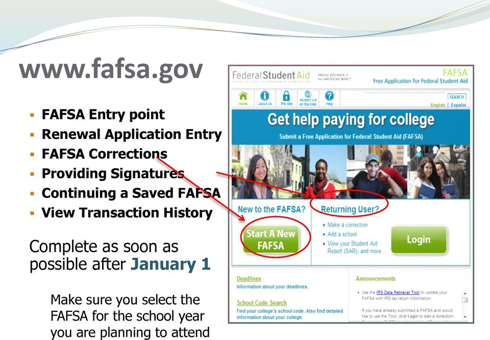 Providing Signatures Continuing a Saved FAFSA View Transaction