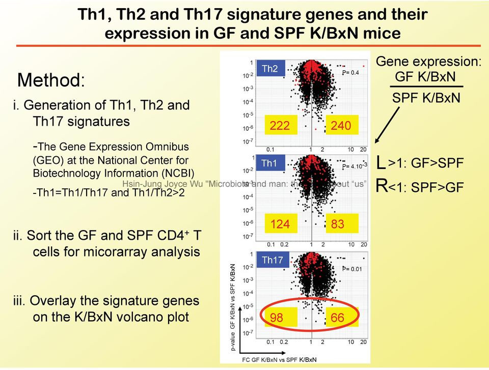 (GEO) at the National Center for Biotechnology Information (NCBI) -Th1=Th1/Th17 and Th1/Th2>2 Th1 L R >1: GF>SPF <1: