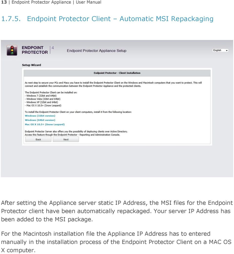 files for the Endpoint Protector client have been automatically repackaged.