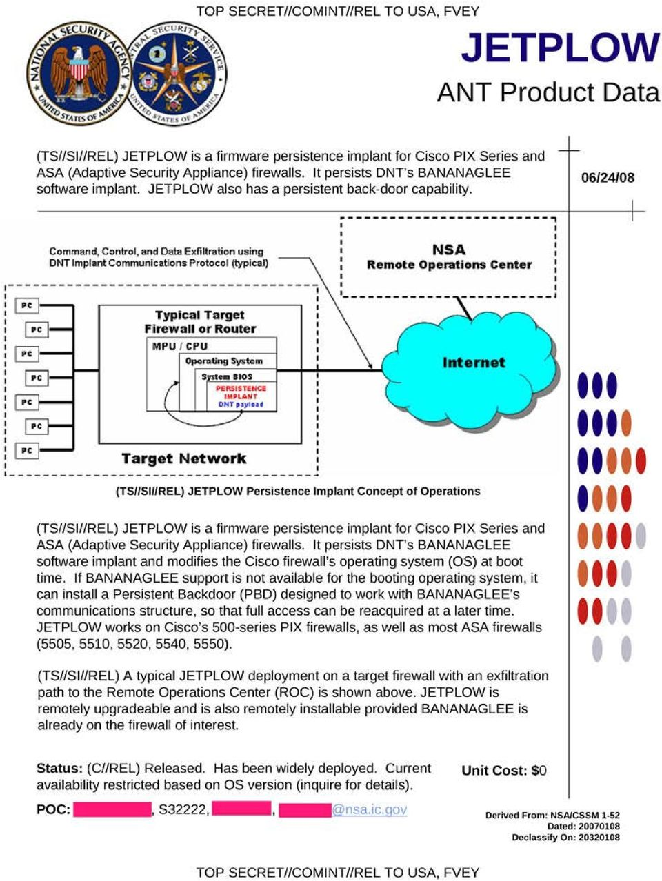 "06/24/08 "" Command, Control, and Data Exfiltration using DNT mpl ant Communications Protocol (typlcaq Typical Target Firewall or Router MPU CPU Opo""'ting 5yotom s - os PE'tSSTEHCE MJlAHT OHT,olfl"