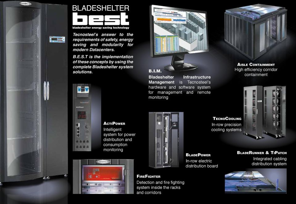 Bladeshelter Infrastructure Management is Tecnosteel s hardware and software system for management and remote monitoring Aisle Containment High efficiency corridor