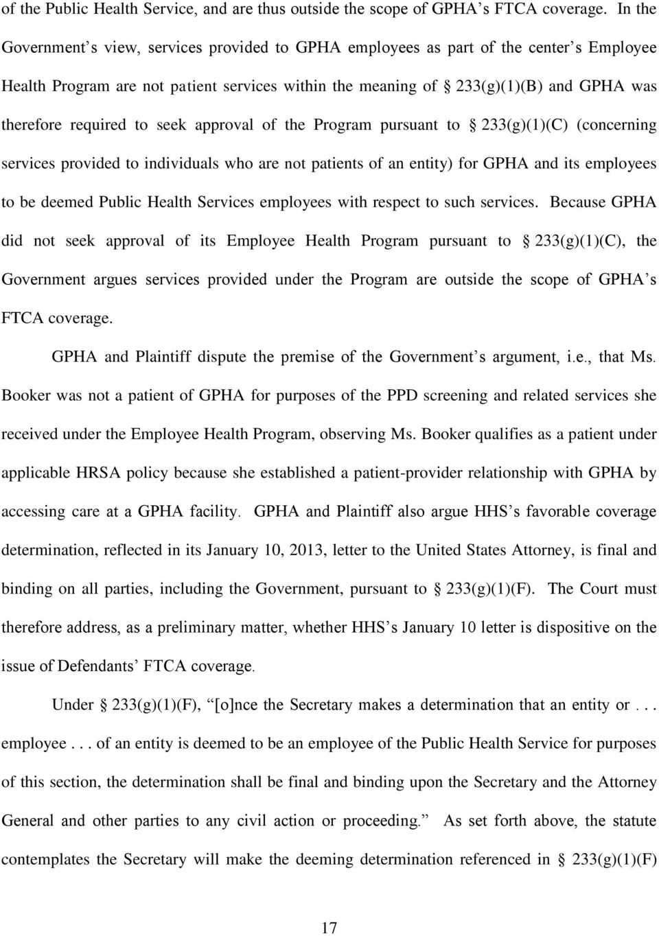 required to seek approval of the Program pursuant to 233(g)(1)(C) (concerning services provided to individuals who are not patients of an entity) for GPHA and its employees to be deemed Public Health